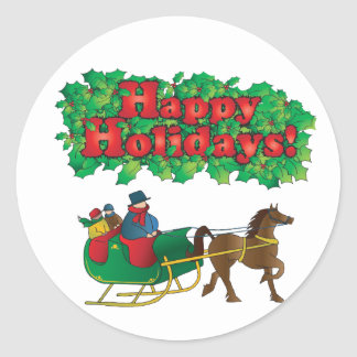 Christmas Couple in a Sleigh Round Sticker