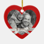 Christmas Couple Photo in Heart with Ribbon Ornaments
