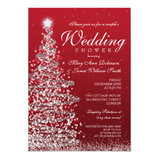 Christmas Couples Shower Red Silver Card