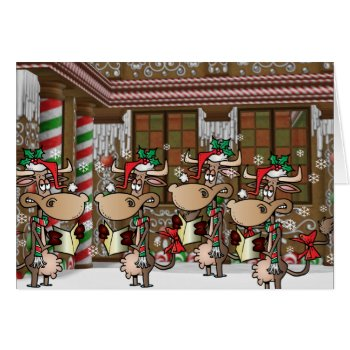Christmas cow caroling card