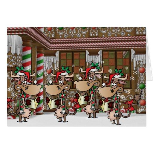 Christmas cow caroling cards