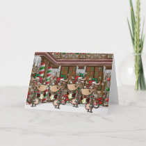 Christmas cow caroling holiday card