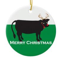 Christmas Cow Ceramic Ornament