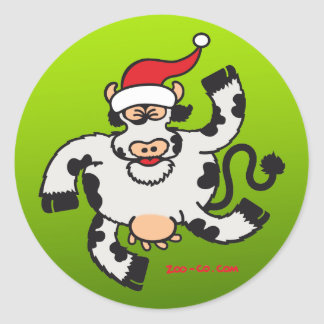 Christmas Cow Classic Round Sticker