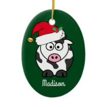 Christmas Cow Cute Personalized Ceramic Ornament