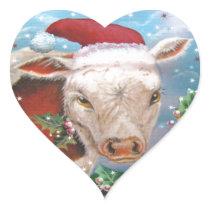 Christmas Cow Design Heart Sticker