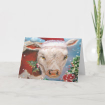 Christmas Cow Design Holiday Card