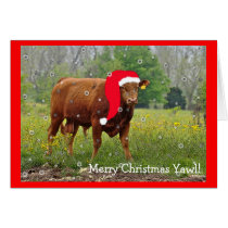 Christmas Cow Greeting Card