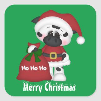 Christmas cow Holiday country sticker