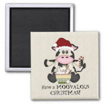 Christmas cow holiday magnet