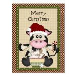 Christmas Cow holiday postcard
