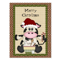 Christmas Cow holiday postcard