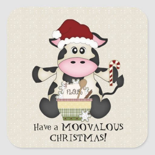Christmas Cow holiday sticker