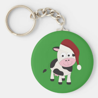 Christmas cow keychain