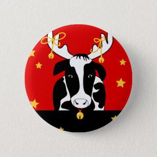Christmas Cow Pin Back Button