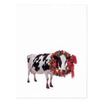 Christmas Cow Postcard Template Vertical