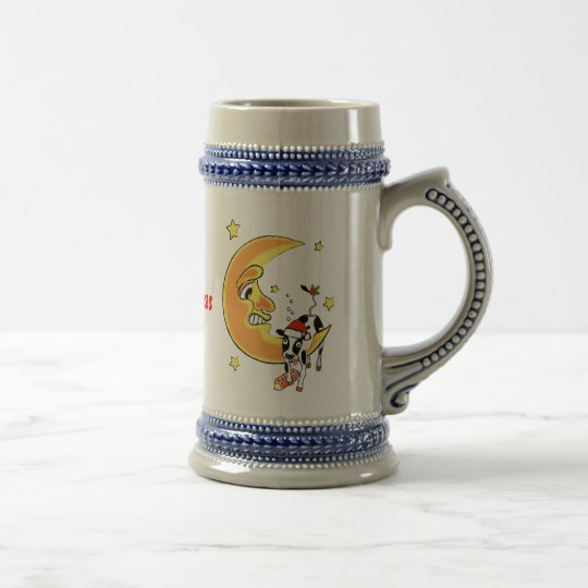 Christmas cow slumped over the moon beer stein