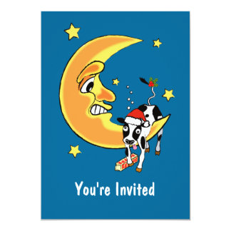 Christmas cow slumped over the moon card