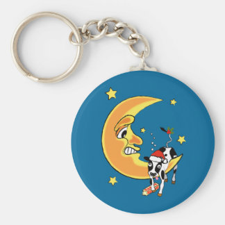 Christmas cow slumped over the moon keychain