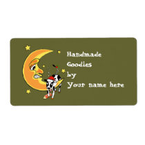 Christmas cow slumped over the moon label