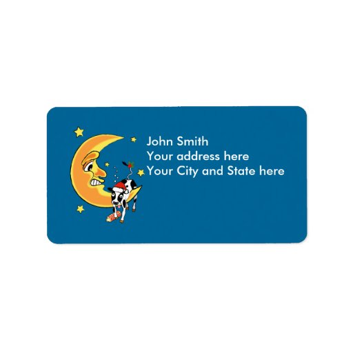 Christmas cow slumped over the moon personalized address label
