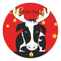 Christmas Cow Sticker
