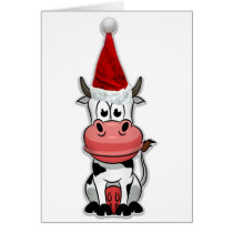Christmas Cow with Santa hat Card
