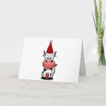 Christmas Cow with Santa hat Holiday Card