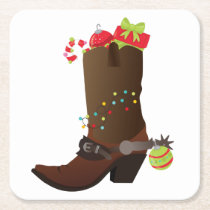 Christmas Cowboy boot Southwestern Western Square Paper Coaster