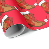 Christmas Cowboy Boots Country Western Cowgirl Wrapping Paper