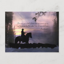 Christmas Cowboy Country Western Religious Holiday Postcard