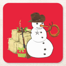 Christmas Cowboy Snowman Southwestern Western Square Paper Coaster