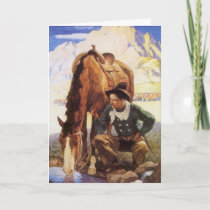 Christmas, Cowboy Watering His Horse by NC Wyeth Holiday Card