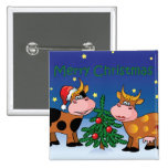 Christmas Cows 2 Inch Square Button