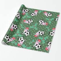 Christmas Cows and Holly Wrapping Paper