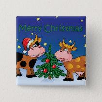 Christmas Cows Button