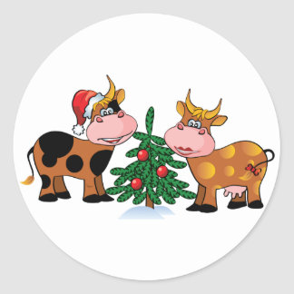 Christmas Cows Classic Round Sticker