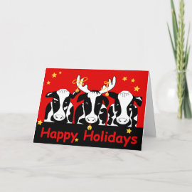 Christmas Cows Greeting Card card