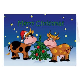 Christmas Cows Happy Moo Year Greeting Card