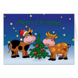 Christmas Cows Happy Moo Year Greeting Card