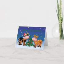 Christmas Cows Happy Moo Year Holiday Card
