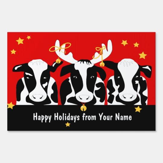 Christmas Cow.Christmas Cows Large Yard Sign