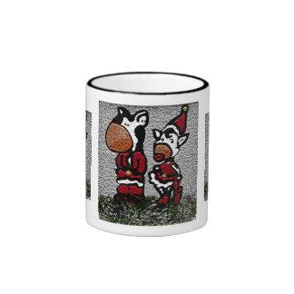 Christmas Cows Ringer Coffee Mug