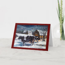 CHRISTMAS: COWS: SNOW: ART: CARD