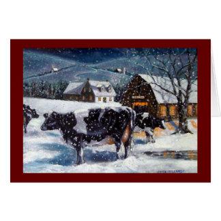 CHRISTMAS: COWS: SNOW: ART: CARD