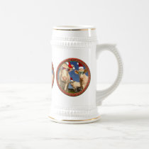Christmas cows with glasses on and red Santa hats Beer Stein