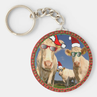Christmas cows with glasses on and red Santa hats Keychain