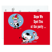 Christmas Cows with Santa Hats Invitation Template