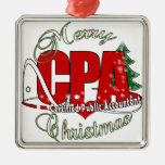 CHRISTMAS CPA Certified Public Accountant Square Metal Christmas Ornament