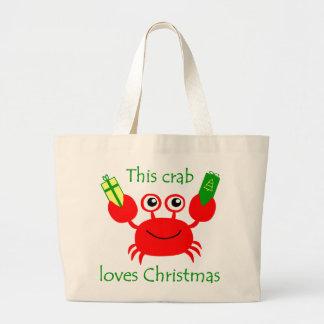 Christmas Crab Canvas Bag